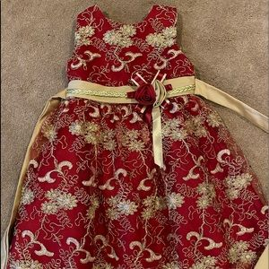 Girls red and gold holiday dress size 6X